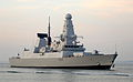Type 45 Destroyer HMS Diamond Enters Portsmouth for the First Time MOD 45151877.jpg