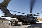 U.S. Marines with the 3rd Battalion, 7th Marine Regiment and with Marine Heavy Helicopter Squadron (HMH) 462 load gear on a CH-53E Super Stallion helicopter in Kajaki, Helmand province, Afghanistan, Oct. 7 131007-M-SA716-066.jpg
