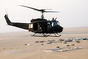 "18th Aviation Brigade (United States) - An 18th Aviation Brigade UH-1H during ""Desert Shield"", 1990"