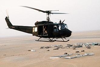 "18th Aviation Brigade (United States) - An 18th Aviation Brigade UH-1H during ""Desert Shield"", 1990"
