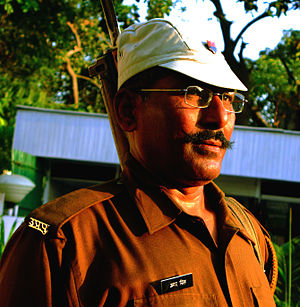 Uttar Pradesh Police - A constable of UP Police wearing a baseball-style cap.