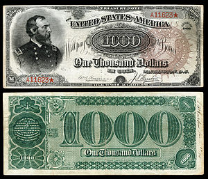 "Treasury Note (1890–91) - Series 1890 $1,000 Treasury Note, nicknamed ""The Grand Watermelon"" due to the shape and color of the zeros on the reverse."