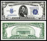 $5 Silver Certificate, Series 1934, Fr.1650, depicting Abraham Lincoln