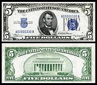 Certificado de prata de $ 5, série 1934, Fr.1650, representando Abraham Lincoln