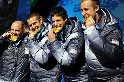 USA-1 4 man bobsleigh team with gold medals at 2010 Winter Olympics 2010-02-27.jpg