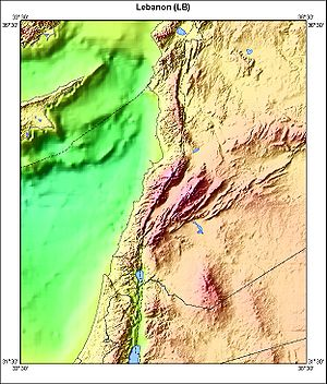 Geography of Lebanon - Bathymetric map of Lebanon