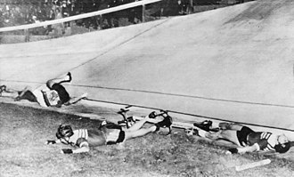 Cycling at the 1956 Summer Olympics – Men's tandem - German and Soviet teams collided in the repechage round, which resulted in the last place for both teams, with three cyclists being hospitalized.