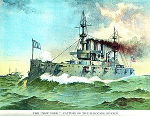 USS New York (ACR-2) - 1898 color illustration of the New York