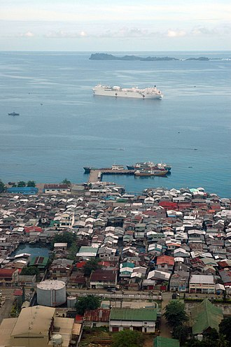 Jolo, Sulu - View of Jolo, with USNS Mercy in the background.