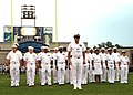 US Navy 060826-N-8825R-001 Sailors stationed on board various tenant commands at Naval Air Station Meridian, Miss., stand in formation at Butch Lambert field, Mississippi Veterans Memorial Stadium.jpg
