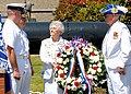 US Navy 070525-N-8655E-002 Cmdr. Chris Harkins, commanding officer of USS Montpelier (SSN 765), and Senior Chief Fire Control Technician Rob Webster, chief of the boat, accept the ceremonial wreath from Nell Turner, 1st Vice Pr.jpg