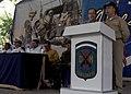 US Navy 070726-N-6278K-115 Capt. Bob Kapcio, mission commander aboard the Military Sealift Command hospital ship USNS Comfort (T-AH 20), speaks at an opening ceremony celebrating the ship's arrival in Acajutla.jpg