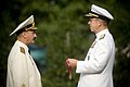 US Navy 070824-N-0696M-109 Chief of Naval Operations Adm. Mike Mullen presents Adm. Vladimir Masorin, commander in chief of the Russian Navy, with the Legion of Merit during a full honors ceremony at Washington Navy Yard'.jpg