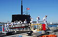 US Navy 090417-N-5617R-152 Sailors walk across the brow as the Los Angeles-class attack submarine USS San Francisco (SSN 711) arrives into its new homeport at Naval Submarine Base Point Loma.jpg