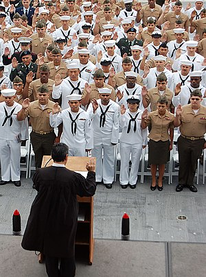 Naturalization - Servicemembers are sworn in as citizens aboard the USS ''Midway'' in 2009