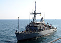US Navy 101113-N-6266K-043 The Avenger-class mine countermeasure ship USS Scout (MCM 8) prepares to pull alongside the Royal Navy Fleet Auxiliary l.jpg