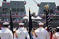 US Navy 110604-N-WI828-003 Members of a U.S. Navy color guard look on as the crew of the Arleigh Burke-class guided-missile destroyer USS William P.jpg