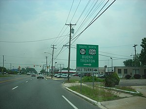 U.S. Route 30 in New Jersey - US 30 eastbound approaching US 206/Route 54 in Hammonton
