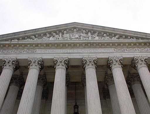 Looking up at the facade of the US Supreme Court