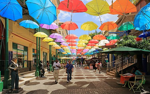 Umbrellas at Caudan Waterfront Mall, Port Louis, Mauritius