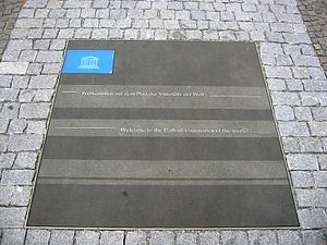 Path of Visionaries - Under the patronage of the UNESCO national plaques are embedded  the sidewalk