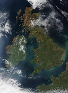 Vue satellite des îles Britanniques.