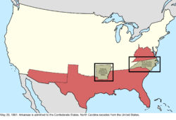 Map of the change to the international disputes involving the United States in central North America on May 20, 1861