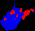 United States Senate special election in West Virginia, 2010 by county, 2010.png