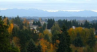 Kenmore, Washington - Northern Kenmore and the Cascade Mountains as seen from Uplake Terrace, looking east