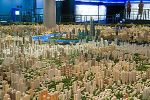 Shanghai Urban Planning Exhibition Center - Parts of the scale model of Shanghai