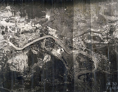 The 3rd Aerospace Rescue Recovery Group used this mosaic reconnaissance photograph to plan Lt. Col. Hambleton and 1st Lt. Mark Clark's rescue. The Cam Lo Bridge is shown at the far left. On 7 April, Hambleton was about 1,000 yards (910 m) above the river and Clark was near the river.[7]:76