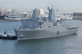 USS San Antonio - USS San Antonio arrives at Port Everglades, Florida in May 2006.
