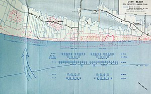 Utah Beach - Utah landings, planned (center/right) and actual (left). North: lower right