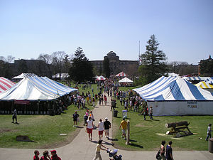 VEISHEA - Visitors browse the hundreds of activities and displays put on by Iowa State University student organizations and departments during VEISHEA Village 2007.