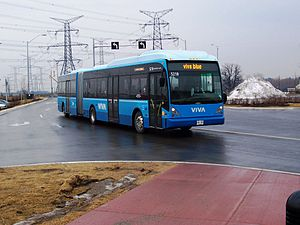 Viva Blue - A Viva Blue bus enters the Richmond Hill Centre station.