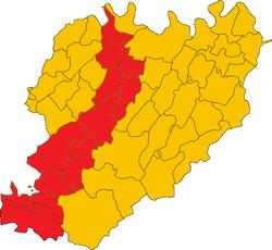I comuni della val Trebbia in provincia di Piacenza
