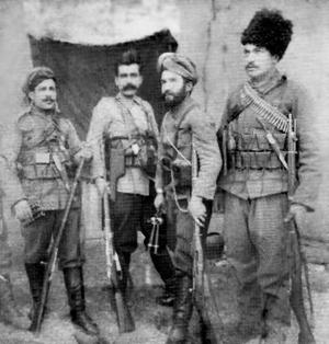 Ishkhan (fedayi) - The ARF leaders in Van. From left to right: Harutyun, Aram Manukian, Ishkhan and Sogho