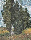 A painting of a large group of cypress trees, beside which two young women are walking, a large house in the background, under a cloudy blue sky.