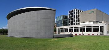 A photograph of a modernist building