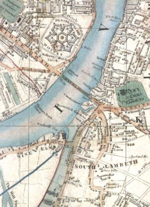 Nine Elms railway station - Detail from a map of 1847 showing the station