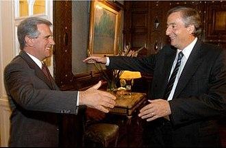 Tabaré Vázquez - Uruguayan President Tabaré Vázquez with Argentine President Néstor Kirchner