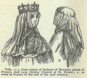 Veil - Depiction of Isabeau of Bavaria, queen of France, wearing veiling
