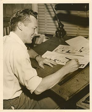 Vernon Greene - Vernon Greene at work at home studio in Wyckoff, NJ. c.1956