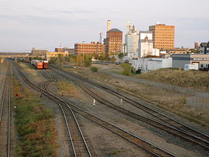 Brandon, Manitoba - View of Downtown Brandon and the Canadian Pacific Railway yards from the Daly overpass