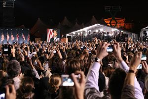 Barack Obama election victory speech, 2008 - Supporters cheering as Obama delivers his speech in Grant Park