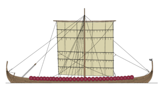 Longship - Schematic drawing of the longship type. They were not always equipped with shields.