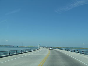 Virginia State Route 175 - The Whealton Memorial Causeway between the mainland and Chincoteague