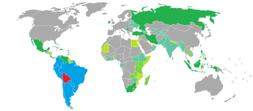 Visa requirements for Bolivian citizens - Wikipedia on bosnia on world map, chile on world map, colombia on world map, belize on world map, congo on world map, espana on world map, ecuador on world map, lima on world map, yemen on world map, somalia on world map, guatemala on world map, paraguay on world map, andes on world map, burundi on world map, pakistan on world map, bulgaria on world map, iran on world map, oman on world map, india on world map, cuba on world map,
