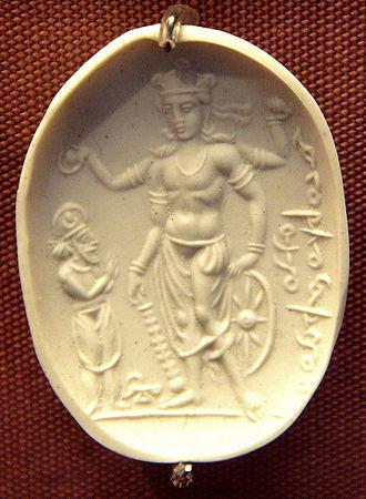 Gwalior inscription of Mihirakula - Vishnu nicolo seal: Vishnu blessing a worshiper, 4-6th century CE.