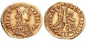 Barbarian kingdoms - Image: Visigoths tremissis 6 century 823177